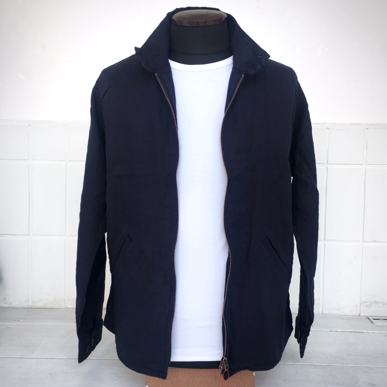 ARBRE French Linen Harrington Jacket NAVY