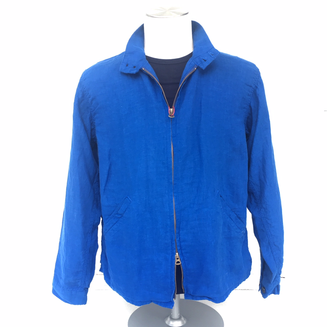 ARBRE French Linen Harrington Jacket BLUE
